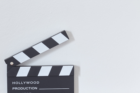 Photo for Clapper board or slate film concept On wooden table, for production of film Concept - Royalty Free Image