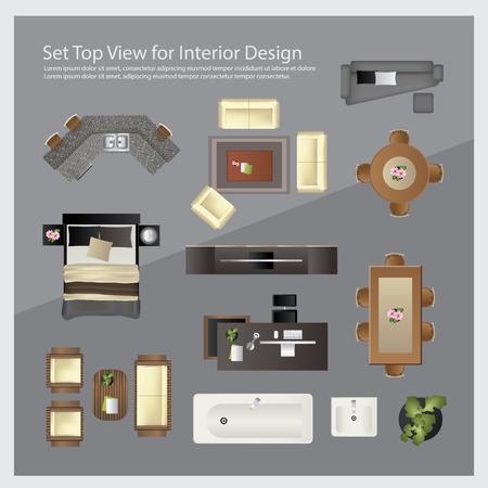 Ilustración de Set top view for interior design. Isolated Illustration - Imagen libre de derechos