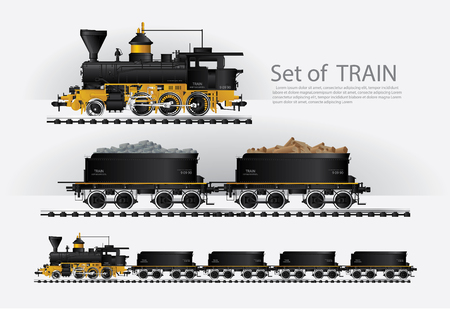 Illustration pour Cargo train on a rail road Vector illustration - image libre de droit