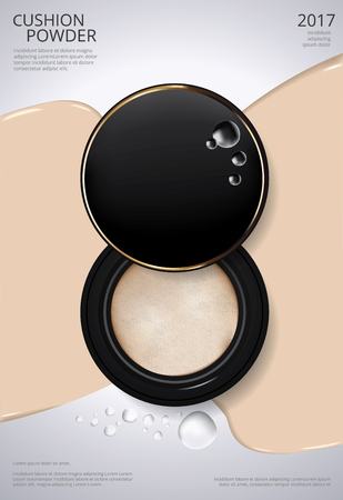 Illustration for Makeup Powder Cushion Poster Template Vector Illustration - Royalty Free Image