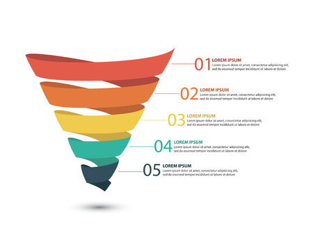 Ilustración de Business infographics with stages of a Sales Funnel - Imagen libre de derechos