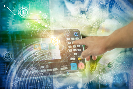 Foto de Industry 4.0 concept image. industrial instruments in the factory with cyber and physical system icons ,Internet of things network,smart factory solution - Imagen libre de derechos