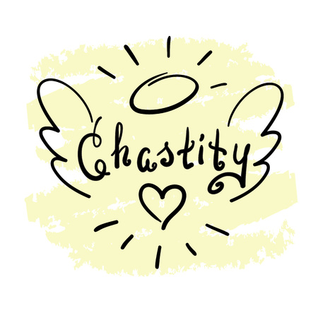 Illustrazione per Chastity - motivational quote lettering. Print for poster, prayer book, church leaflet, t-shirt, bags, postcard, sticker. Simple cute vector on a religious theme - Immagini Royalty Free