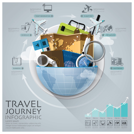 Illustration for Global Travel And Journey Infographic With Round Circle Diagram - Royalty Free Image