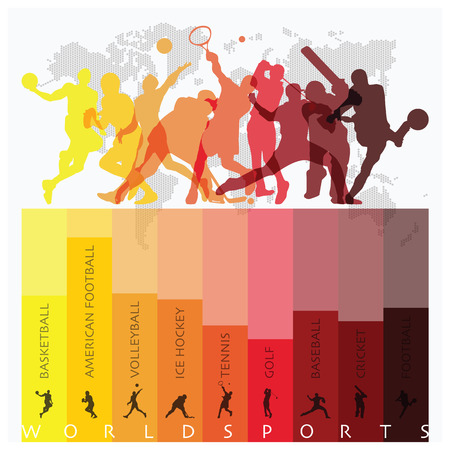 Ilustración de World Sport Isolate Action Icon Set Design Template - Imagen libre de derechos
