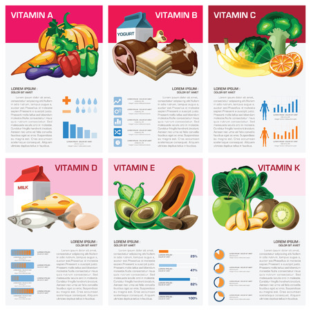Illustration pour Health And Medical Vitamin Chart Diagram Infographic Design Template - image libre de droit