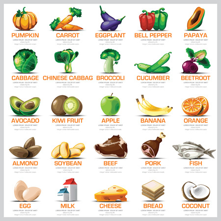 Photo for Ingredients Icons Set Vegetable Fruit And Meat For Nutrition Food Vector Design - Royalty Free Image