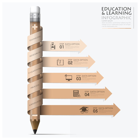 Photo for Education And Learning Step Infographic With Spiral Arrow Pencil Design Template - Royalty Free Image