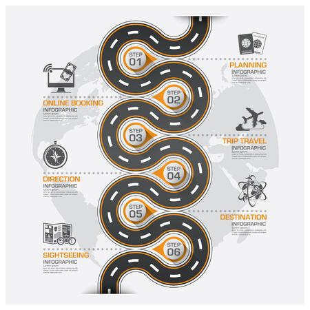 Illustration pour Road And Street Business Travel Curve Route Infographic Diagram Vector Design Template - image libre de droit