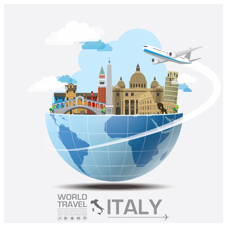 Illustration pour Italy Landmark Global Travel And Journey Infographic Vector Design Template - image libre de droit