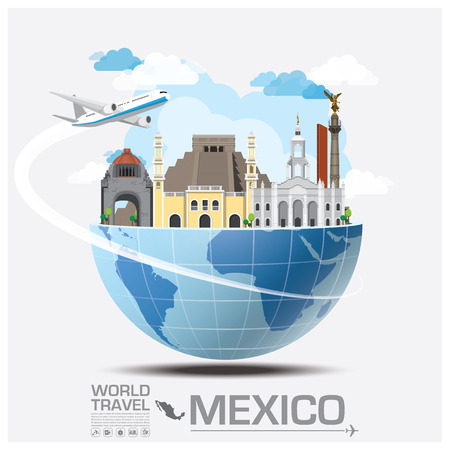Illustration pour Meico Landmark Global Travel And Journey Infographic Vector Design Template - image libre de droit