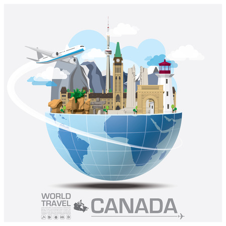 Illustration pour Canada Landmark Global Travel And Journey Infographic Vector Design Template - image libre de droit