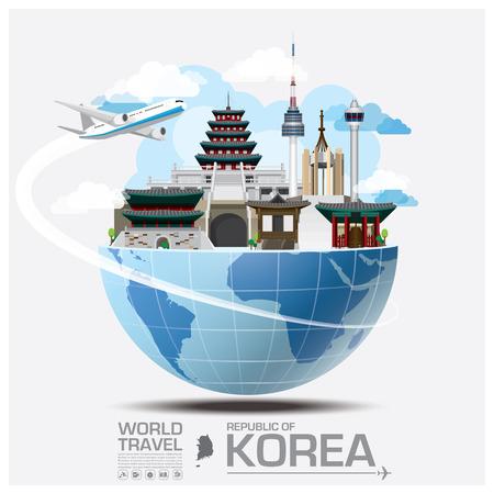 Illustration pour Republic Of Korea Landmark Global Travel And Journey Infographic Vector Design Template - image libre de droit
