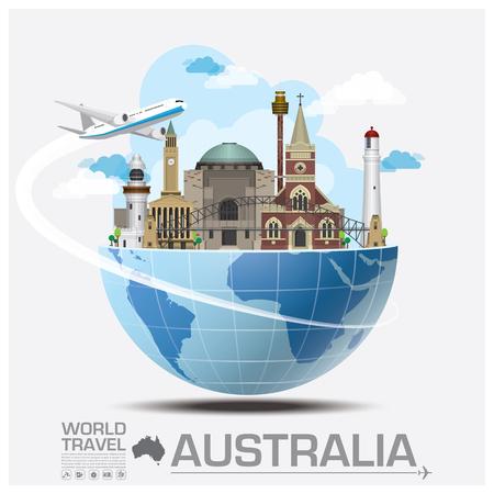 Illustration pour Australia Landmark Global Travel And Journey Infographic Vector Design Template - image libre de droit