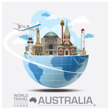 Illustration for Australia Landmark Global Travel And Journey Infographic Vector Design Template - Royalty Free Image