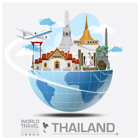 Illustration pour Thailand Landmark Global Travel And Journey Infographic Vector Design Template - image libre de droit