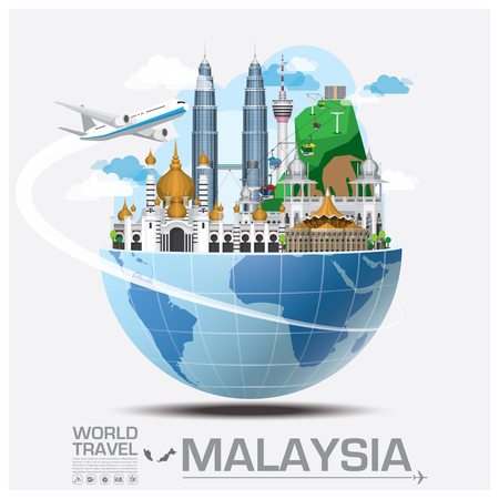 Illustration pour Malaysia Landmark Global Travel And Journey Infographic Vector Design Template - image libre de droit