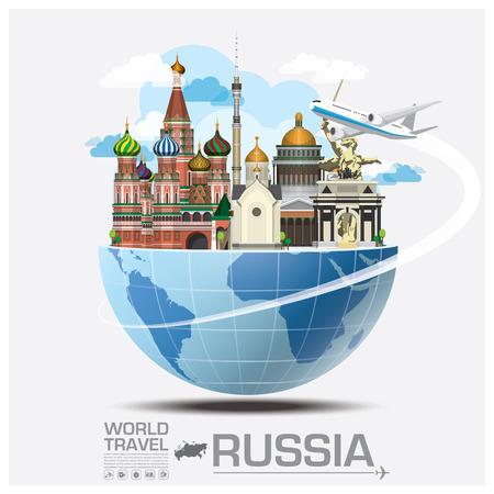 Ilustración de Russia Landmark Global Travel And Journey Infographic Vector Design Template - Imagen libre de derechos