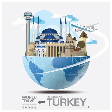 Illustration pour Turkey Landmark Global Travel And Journey Infographic Vector Design Template - image libre de droit
