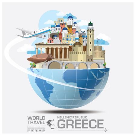 Illustration pour Greece Landmark Global Travel And Journey Infographic Vector Design Template - image libre de droit