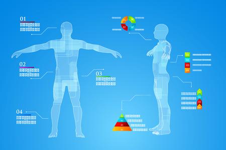 Illustration pour Vector illustration of medicine infographics. Schematic description of the human body. - image libre de droit
