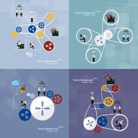 Illustration pour Vector illustration of teamwork, set background - image libre de droit