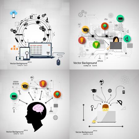 Foto de Vector illustration flat design concepts of education. A set of backgrounds. - Imagen libre de derechos