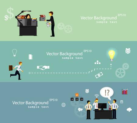 Illustration pour Vector illustration of teamwork, set banner - image libre de droit