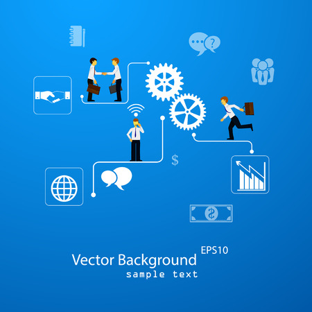 Illustration pour illustration of teamwork, business template with flat icons. - image libre de droit