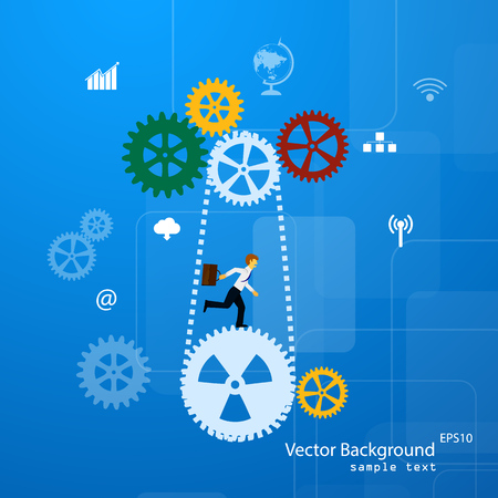 Illustration pour Vector illustration of teamwork, business template with flat icons. - image libre de droit