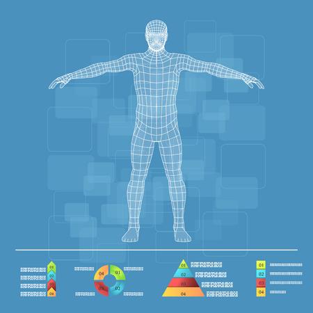 Ilustración de Vector illustration of medicine infographics. Schematic description of the human body. - Imagen libre de derechos