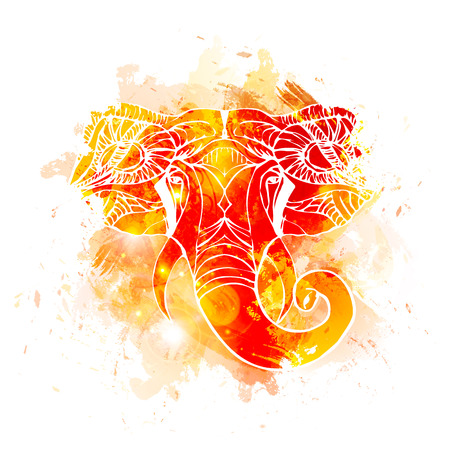 Illustration pour Hand drawn Elephant Head. Indian god Lord hindu deity Ganesha. - image libre de droit