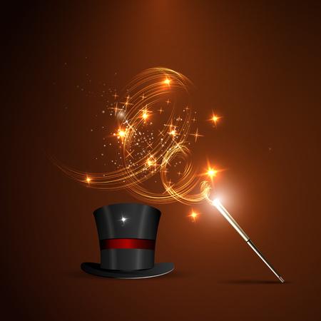 Ilustración de Background glowing wand and magical hat - Imagen libre de derechos