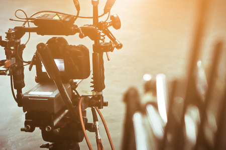 Photo for detail of Video camera viewfinder, film crew production, behind the scenes background - Royalty Free Image