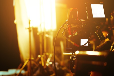 Photo for detail of Video camera viewfinder,film production crew,behind the scenes background. - Royalty Free Image