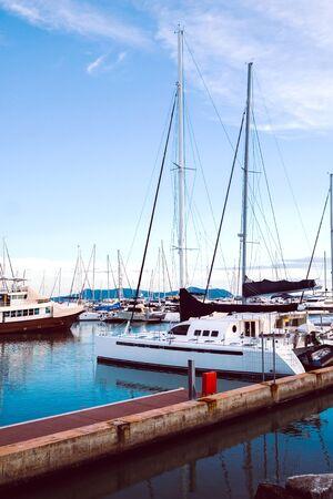 Photo for Luxury yachts docked in marina. - Royalty Free Image