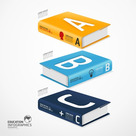 Illustration pour modern infographic Template with book and globe banner illustration - image libre de droit
