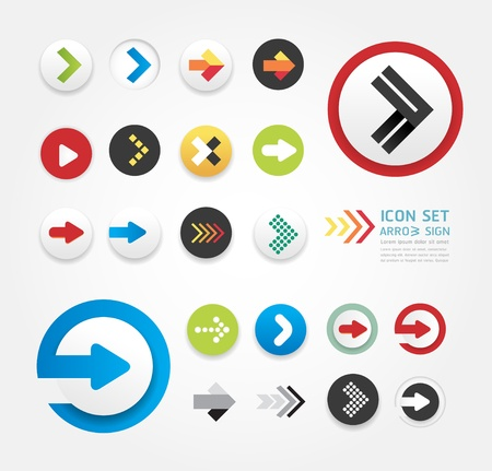 Ilustración de arrow icons design set / can be used for infographics   / graphic or website layout vector - Imagen libre de derechos