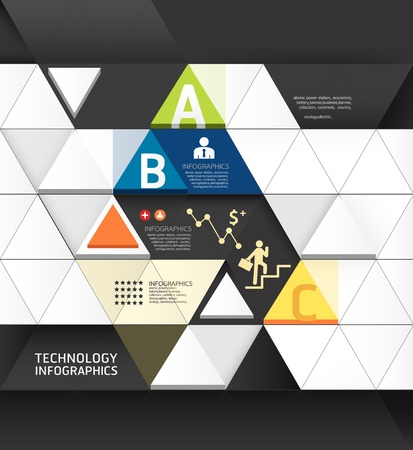 Illustration pour Abstract infographic Design Minimal Triangle shape style technology template / can be used for infographics / numbered banners / horizontal cutout lines / graphic or website layout vector - image libre de droit