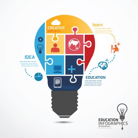 Ilustración de infographic Template with Light bulbs jigsaw banner . concept vector illustration - Imagen libre de derechos