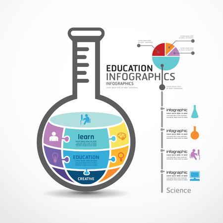 Illustration pour infographic Template with test tube jigsaw banner . concept vector illustration - image libre de droit