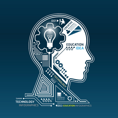 Ilustración de Creative head abstract circuit technology infographic vector - Imagen libre de derechos