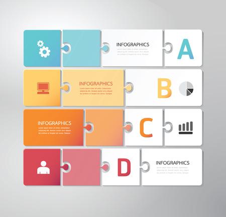 Illustration pour Modern Design Minimal jigsaw style infographic template vector - image libre de droit