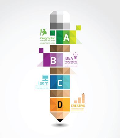 Illustration pour infographic Template with pencil geometric banner   concept vector illustration - image libre de droit