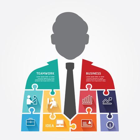 Illustration pour businessman infographic Template jigsaw banner   concept  - image libre de droit