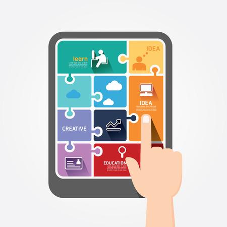 Illustration pour infographic finger push tablet Template jigsaw banner   concept vector illustration - image libre de droit