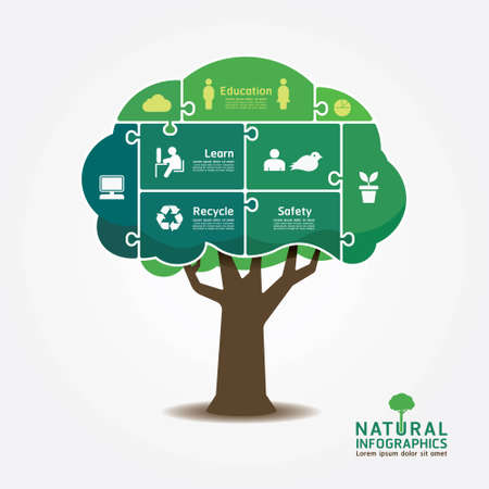 Illustration for Infographic Green Tree jigsaw banner environment concept vector illustration  - Royalty Free Image