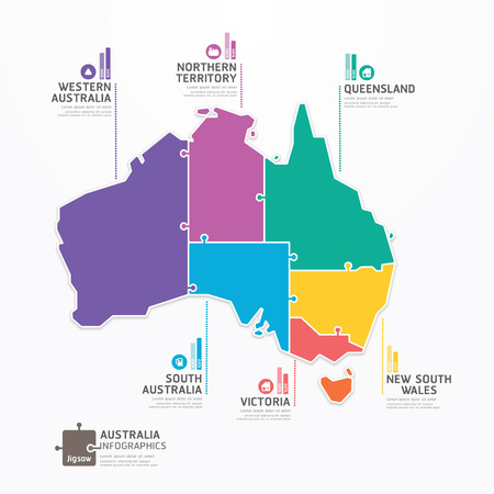 Ilustración de Australia Map Infographic Template jigsaw concept banner  vector illustration - Imagen libre de derechos