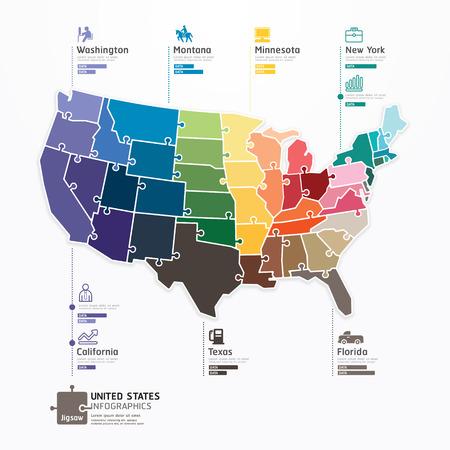 Illustration pour United states Map Infographic Template jigsaw concept banner  vector illustration - image libre de droit