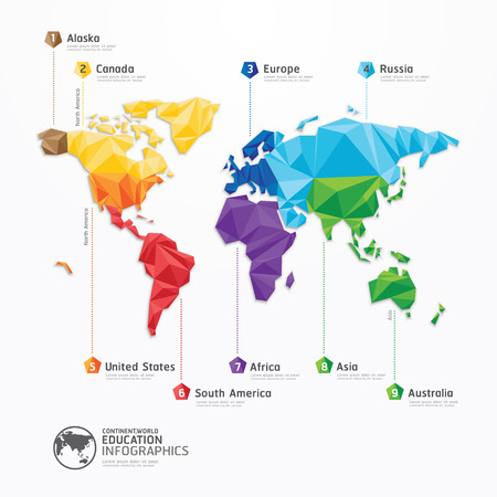 Illustration pour world map illustration infographics geometric concept design  - image libre de droit